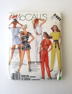 1980s Jumpsuit Romper Pattern McCalls 2481 Womens by QuiltCitySue