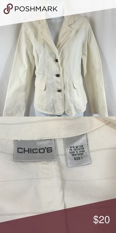 Chico's SZ 1 Cream Jacket with Light Pinstripes Chico's SZ 1 Cream Blazer with Light Pinstripes as shown in last picture. Chico's Jackets & Coats