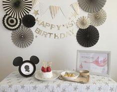 ケーキトッパー 【Baby is one ☆】 ペーパーファン 【 Black & White Assort 】 をご使用していただいたお客様のお写真♡ありがとうございました!