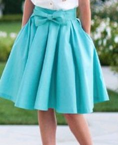Blue Plain Swing Bow Pleated Pockets High Waist Below Knee Vintage A Line Maxi Skirt