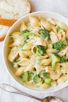 Creamy Broccoli Chicken Shells and Cheese - this is made lighter yet it's so incredibly DELICIOUS!! Finally a meal the whole family can agree on. by geraldine