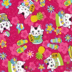 Hula Maneki-Neko Cat - Quilt Fabrics from www.eQuilter.com
