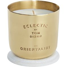 Tom Dixon Orientalist Candle ($80) ❤ liked on Polyvore featuring home, home decor, candles & candleholders, candles, fillers, gold, scented candles, colorful candles, colorful home decor and tom dixon