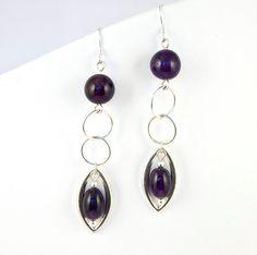 Purple Amethyst Earrings Sterling Silver by LLDArtisticJewelry, $49.95