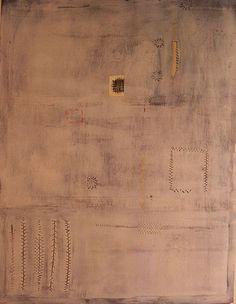 Teresa Lanceta: Trabajos / Pinturas Cosidas / Telas cosidas / Esperando el porvenir