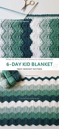 Kid Blanket Free Crochet Pattern - Cute and Colorful Baby Blankets. Green is one of the most popular and trendy colors this season. Crochet Crafts, Easy Crochet, Crochet Projects, Knit Crochet, Crochet Afghans, Tunisian Crochet, Lace Knitting, Baby Afghans, Yarn Projects