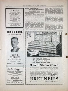 A 3-in-one studio couch! Only $29.75! Breuner's, 1932 California State Employee magazine.