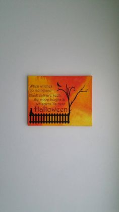 Yellow and orange background with black vinyl Halloween décor Size in picture 11x14 canvas  No need for a frame! All sides are painted!  Canvases are