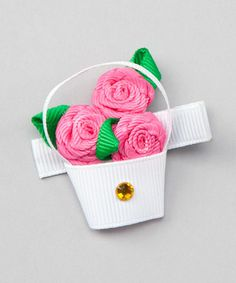 Take a look at this White Flower Basket Clip by Bubbly Bows on #zulily today!