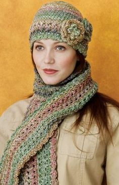 Crocheted Cloche & Scarf Set free pattern at red heart ✭Teresa Restegui http://www.pinterest.com/teretegui/ ✭