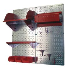 Featuring 2 metal pegboards with an array of storage compartments and hooks, this organizer kit is perfect for stowing tools in the garage or sports equipmen...