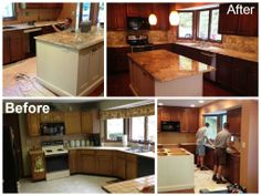 A transformation of a kitchen with Hawaii granite.  Fabricated and installed by Stonetrends LLC.  Kitchen remodel by Liston Construction Company.  www.stonetrendsllc.com www.listonconstruction.com/