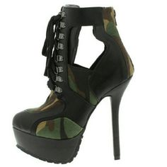 New by Wild Diva Laced up army boots by wild diva. Sexy 5.5 inch heel with a 1.5 inch platform approx Wild Diva Shoes Combat & Moto Boots