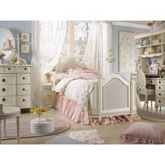 Your little girl will feel like royalty as she drifts off to sleep in her Emma's Treasures Mansion Poster Bed. This regal poster bed is made of sturdy wood in a vintage white finish which adds even more enchantment to the carved woven cane details turned feet and handsome finials. The elegantly arched headboard and footboard curve inward for a traditional look that's fit for a fairy tale.The bed frame includes bed slats which insert in the rails'