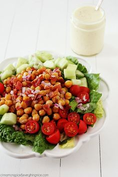 Fried Chickpea & Bacon Salad w/ Creamy Feta Dressing - A salad that eats like a meal with the most delicious dressing you will ever taste! {cinnamonspiceandeverythingnice.com}