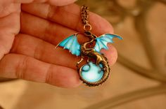 Glow in the dark Dragon Surrounding the Moon by Papillon9 on Etsy, $24.95