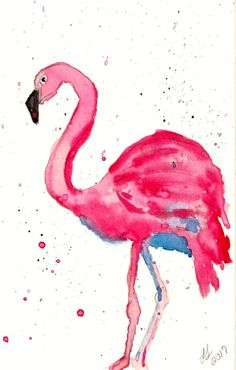 LDL Creations, LLC personal   Pink Flamingo watercolor painting with Crayola Crayon watercolor paints.