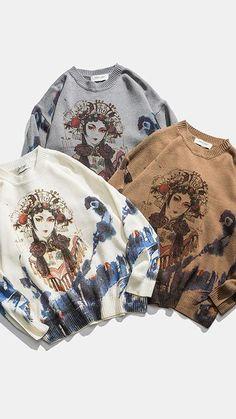 Harajuku, Pull Crochet, Sweater Refashion, Pulls, Crew Neck Sweatshirt, Sweaters For Women, Sweatshirts, How To Wear, Men Wear