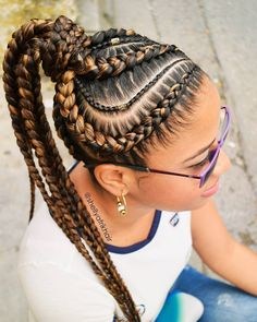Check out our amazing collection of goddess braids! Our experts picked the best goddess braids updos, plaited designs, halos, mohawks and other fantastic braided hairstyles. Feed In Braids Hairstyles, Braided Ponytail Hairstyles, Braided Hairstyles For Black Women, African Hairstyles, Black Hairstyles, Braids Cornrows, Pictures Of Hairstyles, Braid In Ponytail, Hairstyles Haircuts