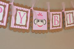 monkey birthday theme | Happy Birthday Pink or Red Sock Monkey Theme Banner - Matching Cupcake ...