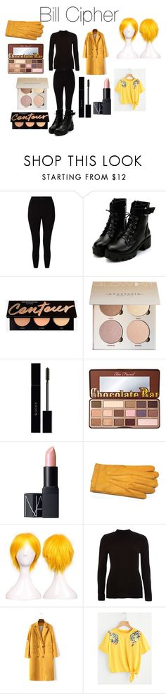"""""""Bill Cipher from Disney's Gravity Falls"""" by tori-camilleri on Polyvore featuring Miss Selfridge, Gucci, Too Faced Cosmetics, NARS Cosmetics, Gloves International and River Island"""