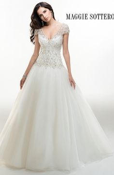 V-Neck Princess/Ball Gown Wedding Dress  with Dropped Waist in Tulle. Bridal Gown Style Number:32953036
