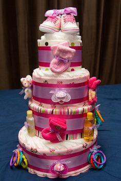 Pink & Purple Baby Girl Diaper Cake