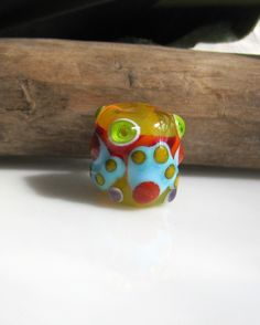 electric yellow dreadlock bead bhb handmade glass bead sra lampwork by lisanew on