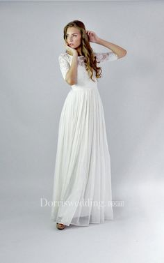 A-line Sleeves Covered Button Floor-length Lace   Chiffon Bridal Wedding  Dresses 823558886751