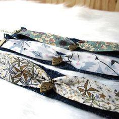 Bracelet boho Sakari réglable jean ruban liberty 3 coloris au