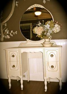 Romantic Shabby Chic Vanity with Mirror by nookandcrannycompany, $300.00 (my dream vanity!!)