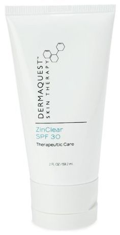DermaQuest ZinClear SPF 30 - 2 oz by DermaQuest. $49.50. A physical sunscreen containing Zinc Oxide which absorbs quickly without leaving a white residue on the skin. Broad spectrum coverage protects the skin from harmful UVA and UVB rays while antioxidants provide the skin with further protection. The soothing and healing benefits of Zinc Oxide makes this sunscreen an excellent choice for sensitive skin types and for use during a professional treatment series.