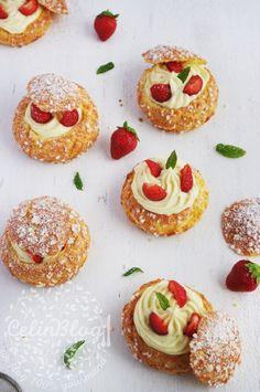 Choux à la crème vanille et fraises
