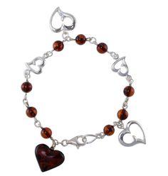 cherry amber heart bracelet
