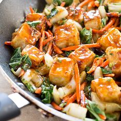 Stir-Fried Tofu and Bok Choy in Ginger Sauce