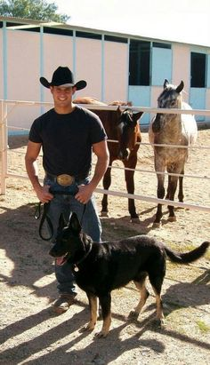 hot cowboy, check German shepherd, check Horses, check Will this be my future LOL