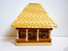 Handmade, miniature country house made of wood. $11.00, via Etsy.