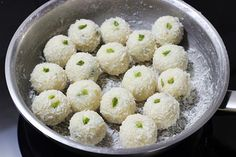 Coconut ladoo recipe or nariyal ladoo , a popular Indian festive delight made with milk, sugar and coconut. Learn to make easy coconut ladoo recipe Other Meat Recipes, Beef Recipes For Dinner, Milk Recipes, Yummy Recipes, Coconut Ladoo Recipe, Indian Dessert Recipes, Indian Sweets, Fried Fish Recipes, Chicken Recipes