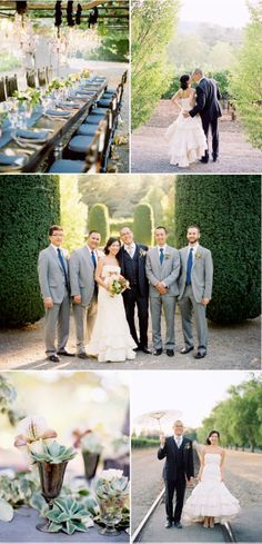 Love the vineyard setting & mix matched grooms/men suits