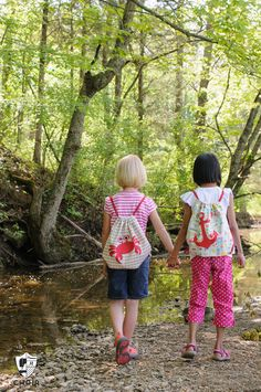 Free Sewing Pattern for a simple summer drawstring backpack for kids. Even…
