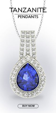 Sparkling necks piece with a combination of 14k white gold and a 2.000 carat pear shaped tanzanite stuns the crowd with its astonishing appearance. Available in the standard size of 10*8 MM consists of a minimum grade of Deep (AAAA). It has highly flawless features available in a graceful violetish blue color. Enclosed in 38 small and round diamonds of 0.590 carat, it confidently resembles an angelic piece.