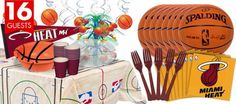 off Miami Heat party tableware! Find Miami Heat party supplies, party favors, Heat decorations, Miami Heat invitations and more NBA party supplies. 13th Birthday Parties, Minnie Birthday, Birthday Bash, Birthday Party Decorations, Birthday Ideas, Basketball Party, Basketball Birthday, Basketball Cakes, Basketball Hoop