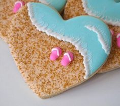 Perfect Beach Wedding Reception Cookies...Great idea for Bridal Showers with a matching Beach type Bridal Shower Favors...too CUTE!