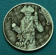 "Hobo Nickel ""A Pirate's Life For Me"" Coin by Howard Thomas"