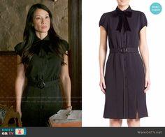 Joan's black belted shirtdress on Elementary.  Outfit Details: https://wornontv.net/62706/ #Elementary