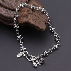 Mens Silver Jewelry, Wholesale Silver Jewelry, Women Jewelry, Skull Bracelet, Skull Jewelry, Bracelet Charms, Men's Jewelry, Jewlery, Where To Buy Silver