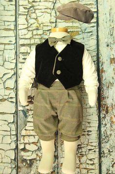 Baby / Infant boy Vintage Glen Plaid 5-pc Knicker Pant Set with Black Vest , Bow Tie and Hat