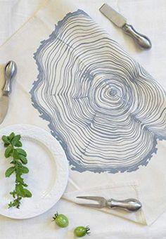 Cloth Dinner Napkins Set of 4 - Grey Tree Ring Design - Handmade - Hand-printed - Unpaper Towels Cloth Dinner Napkins, Cotton Napkins, Napkins Set, Gray Tree, Tree Rings, Printed Napkins, Woodland Decor, Reception Decorations, Kitchen Towels