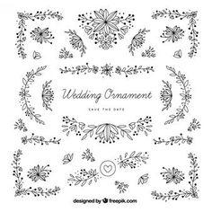 Desenhadas mão ornamentos de casamento com folhas
