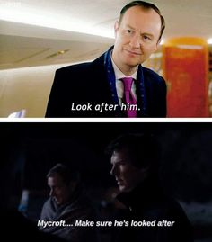 Mycroft & Sherlock looking out for each other I love their relationship sooo much Sherlock John, Sherlock Series, Sherlock Fandom, Benedict Cumberbatch Sherlock, Holmes Brothers, Mycroft Holmes, Mark Gatiss, Steven Moffat, Snow